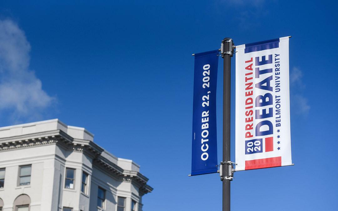 Photo of street signs reading Presidential Debate at Belmont University October 22, 2020